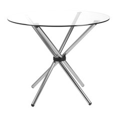 Euro Style   42 Inch Round Clear Glass Table Top   Dining Tables