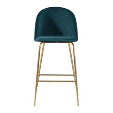 Millennial Brass Velvet Upholstered Dining Bar Stool, Teal, 75 Cm