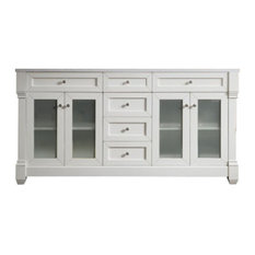 "Weston 72"" Cottage White Double Vanity w/ Arctic Fall Top"