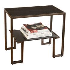 Midcentury Minimalist Bronze Accent Table Black Granite Top Shelf Open