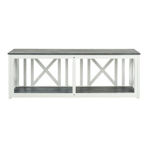 Safavieh Penelope Outdoor Bench, White and Ash Grey