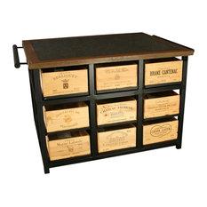Hobbs Germany Kitchen Island  French Wine Crate 18 Drawer  Italian