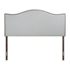 Modern Contemporary King Size Nailhead Upholstered Headboard, Gray Fabric