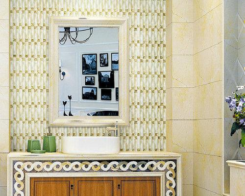 Crystal glass backsplash tile arch mirror gold light yellow new ...