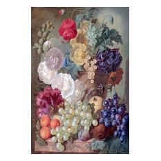 "Tile Mural Hollyhocks Poppies Kitchen Backsplash, 8"" Ceramic, Matte"