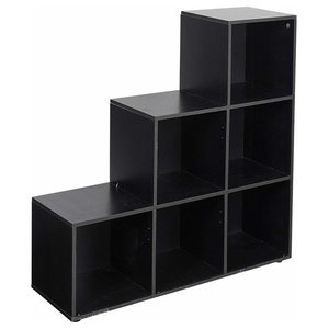 Modular Display Storage Unit, Painted MDF With 6 Open Compartments, Black
