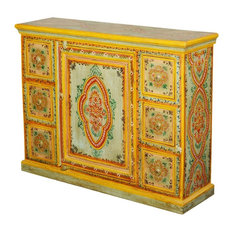 Sun Garden Hand Painted Mango Wood 6 Drawer Sideboard Cabinet
