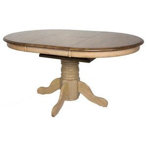 Sandalwood Pedestal Dining Table In Harvest Oak Finish