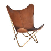 Safari Chestnut Leather Butterfly Chair