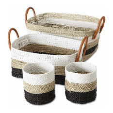 Black and White Striped Rustic Nesting Baskets, Set of 4