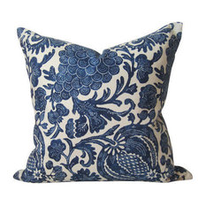 """Indigo Batik Pillow Cover, Floral Indigo Blue Pillow, 26""""x26"""""""