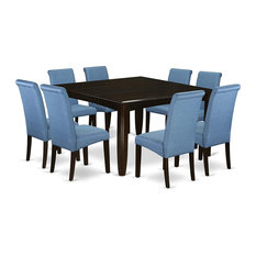 Contemporary Dining Set, Extandable Leaf Table With Blue Linen Chairs, 9 Pieces