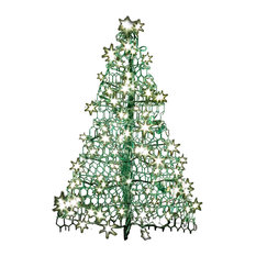 Crab Pot Trees - Crab Pot Christmas Tree, Green, 3', 160 Clear Led Mini Lights - Outdoor Holiday Decorations