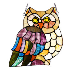 """11"""" Stained Glass Hoot's Owl Window Panel, Multicolor"""