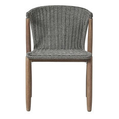 Embras Stacking Dining Chairs, Set of 2, Gray Shades Cord/Weathered Eucalyptus