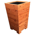 """Mid Century Wood Shop - Extra Tall Cafe Planter Boxes, 21""""x36"""", Planter Only - This style is used by restaurateurs all over the world as privacy screens on their sidewalk cafes. I'm now offering them in three sizes with optional matching trellis for extra height. I""""ve seen other tapered planters but never ones with the fit and finish of integrated side panels. This means you can fully restore them to a fresh seal coat appearance anytime with very little effort. Perfect for home owners and restaurants alike."""