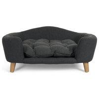 Samuel Mid Century Small Plush Pet Bed, Dark Gray, Natural