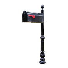 Steel Mailbox Post With Corinthian Cast Base and Acorn Top