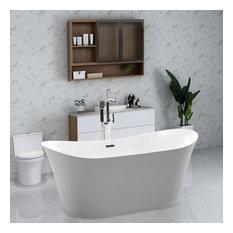 "Vanity Art Freestanding Acrylic Bathtub, White, 31""x67"""