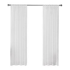 """Amalgamated Textiles, USA - Belgian Jacquard Sheer Curtain With Rod Pocket, Set of 2, Winter White, 50""""x96"""" - Curtains"""