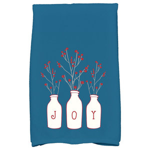 Joy Decorative Holiday Floral Print Hand Towel, Teal