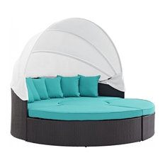 Modway Convene Canopy Outdoor Daybed, Espresso, Turquoise