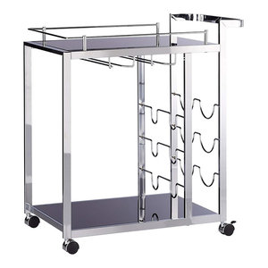 Modern Serving Trolley Cart, Chromed Steel Frame With Wine Rack, Glass Holder