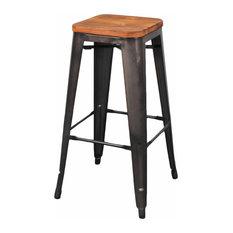 Holland Backless Bar Stool Wood Seat Gunmetal (set Of 4)