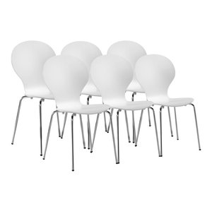 VidaXL 6 Stackable Butterfly Dining Chairs, White