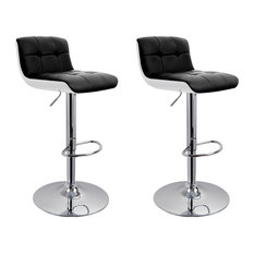 MOD - Boyd Faux Leather Adjustable Bar Stools, Set of 2, Black - Bar Stools and Counter Stools
