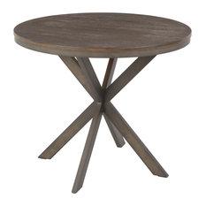 X Pedestal Dinette Table, Antique Metal, Espresso Bamboo
