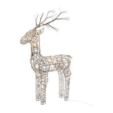 60cm Grey Wicker Standing Reindeer Outdoor, Warm White LED