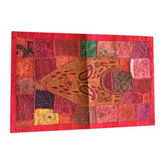 Mogul Interior - Deep Red Runner Sequins Embroidered Patchwork Indian Art Home Decor - Tapestries