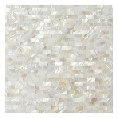 "Lokahi 0.39""x0.79"" Glass Pearl Shell Mosaic Tile, White"