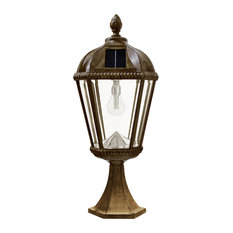 Royal Solar Light, With GS Solar LED Light Bulb, Pier Mount, Weathered Bronze