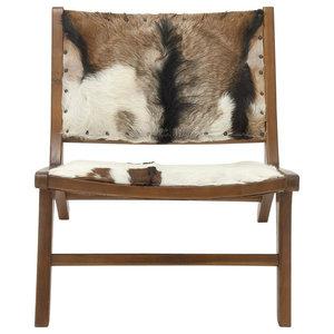 "Teak Hide Lounge Chair 32""W, 27""H"