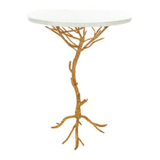 Safavieh Carolyn Accent Table White Gold Legs