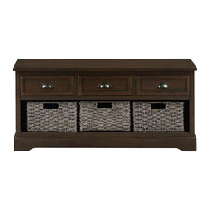 Entryway Storage Bench, 3 Drawers and 3 Rattan Boxes, Great for Extra Storage, B