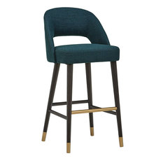 Bar Stool With Open Rounded Back And Gold Finished Footrest Juniper Blue