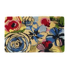 "Fab Habitat Handwoven Extra Thick Watercolor Floral Coir Doormat 24"" x 36"" x 2"""