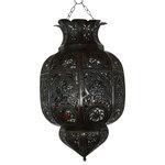 Badia Design Inc. - Hanging Lantern With Multi Color Glass - Moroccan Hanging Lantern with Multi Color Glass