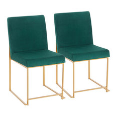 High Back Fuji Contemporary Dining Chair Gold And Green Velvet Set Of 2