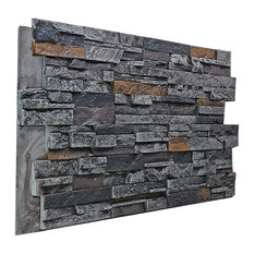 Faux Stacked Stone Wall Panel - Graphite