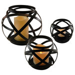 LumaBase - Banded Metal Lanterns With LED Candles, Black, Set of 3 - Easily brighten up any special occasion or home décor by incorporating these banded metal  lantern into your design. With a faux flame resin candle, this lantern is safe to use indoor and out making it a versatile décor piece perfect for any event. Battery operated with a wireless illumination is perfect for centerpiece, coffee table or mantel.