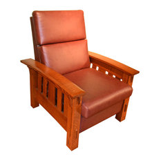 Crafters And Weavers   Crafters And Weavers Amish McCoy Leather And Oak  Reclining Chair   Recliner