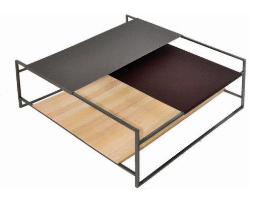 QUADROTTO 90_LINEA 10 mm Tavolino con struttura in ferro ossidato