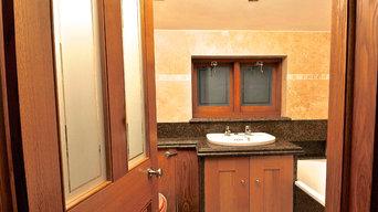 Travertine and oak Bathroom