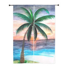 Palm Tree Tropical Sheer Curtains, Sunset Palm