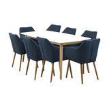 Nagane Extending Table And Nori Fabric Chairs, 8 Chairs