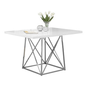 Contemporary Dining Table, Wood and Metal, White Glossy, Chrome Metal Finish